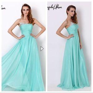 CLEARANCE Asymmetrical Jeweled Evening Dress